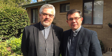 Fr Fabio Baggio CS (left) with Fr Maurizio Pettena CS, director of the Australian Catholic Migrants and Refugees Office (ACBC)