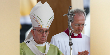 Pope Francis at the open air Mass in Dublin yesterday (CNS/Paul Haring)