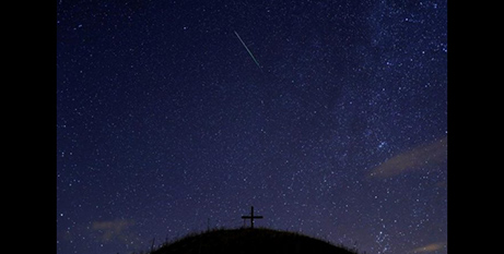 A meteor streaks past stars in the night sky in Grossmugl, Austria (CNS/Heinz-Peter Bader, Reuters)