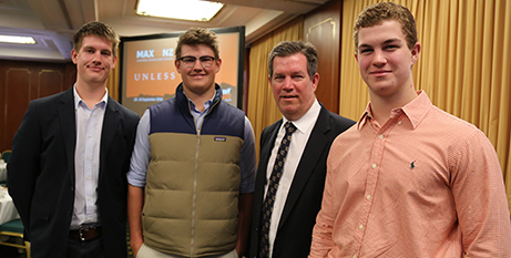 Tom, Angus, Karl and Isaac Morris at the menALIVE breakfast (The Catholic Leader/Mark Bowling)
