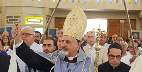 Patriarch Ignace Joseph III Younan leads a procession at the restored Aleppo cathedral (CNS/Syriac Catholic Patriarchate)