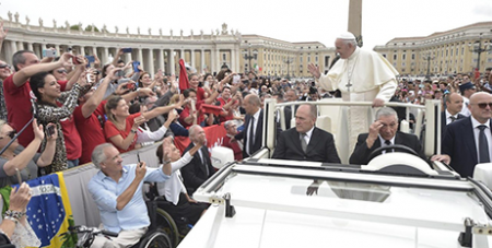 Pope Francis at the general audience yesterday (Vatican Media)