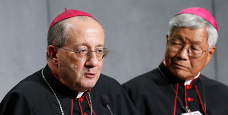 Archbishop Bruno Forte and Bishop Lazarus You Heung-sik at the press briefing yesterday (CNS/Paul Haring)