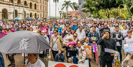 Pro-life rally outside Parliament House in Brisbane on Saturday (Facebook/Cherish Life Queensland)