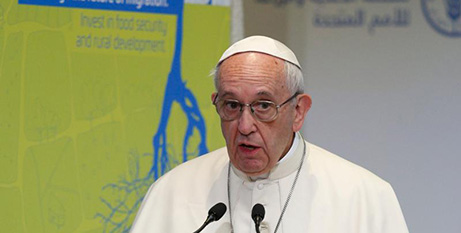Pope Francis addresses the United Nations FAO (CNS/Paul Haring)