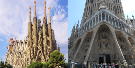 Two facades of the Sagrada Familia (Wikimedia/CMessier and Canaan)