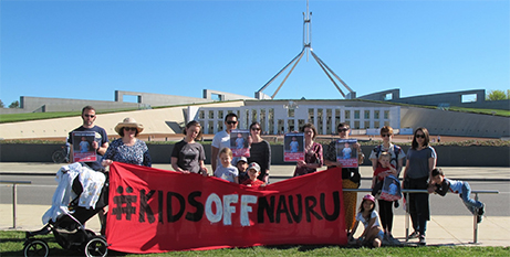 Protesters outside Parliament House, Canberra