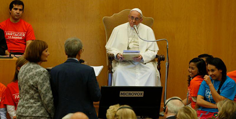 Pope Francis at the launch of his new book (CNS/Paul Haring)