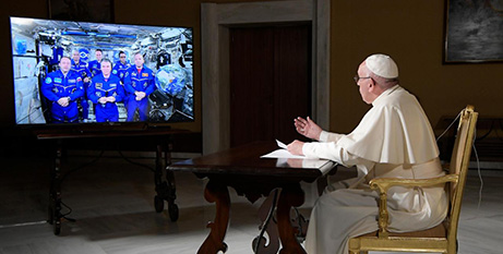 Pope Francis speaks to the astronauts (CNS)