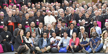 Pope Francis and Synod participants after the final vote on Saturday (Vatican Media)
