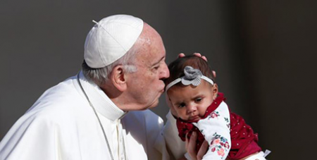 Pope Francis at the general audience yesterday (CNS/Paul Haring)