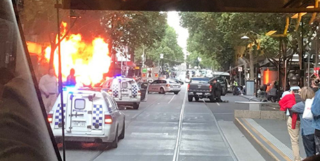 Police respond to the incident in Bourke Street, Melbourne, on Friday (Twitter/Meegan May)