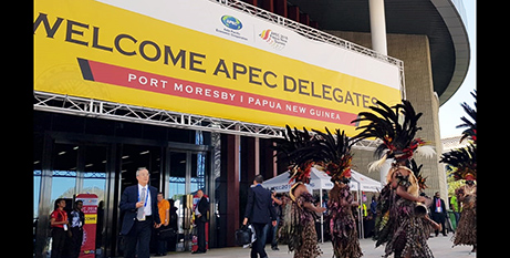 People wearing traditional dress greet visitors arriving for the summit (Facebook/APEC2018)