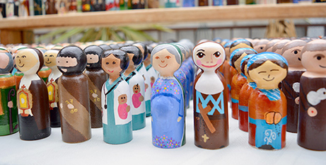 A selection of the saint peg dolls created for the exchange (The Catholic Leader)