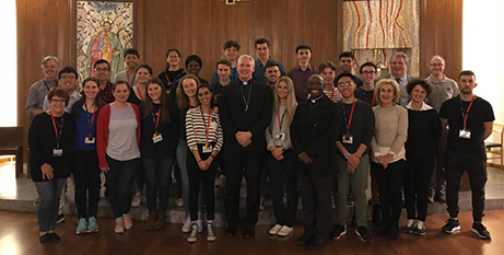 ACU School Leavers Program participants with Bishop Richard Umbers at the Rome Campus (ACU)