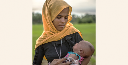 Rajida Begum and baby are among those who have fled Myanmar (Caritas Australia/TommyTrenchard)