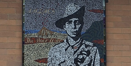 A detail of the mural honouring Indigenous soliders (Melbourne Catholic)