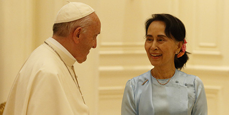 Pope Francis and Aung San Suu Kyi yesterday (CNS/Paul Haring)