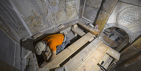 A conservator cleans the edicule at the Church of the Holy Sepulchre, Jerusalem (CNS/Oded Balilty, National Geographic)