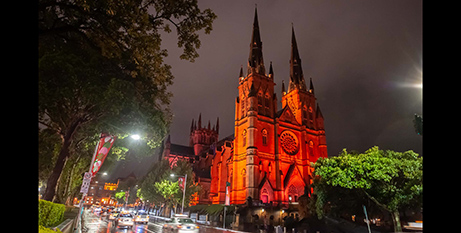 St Mary's Cathedral, Sydney, on Wednesday (Giovanni Portelli Photography/ACN/SydneyArchdiocese)