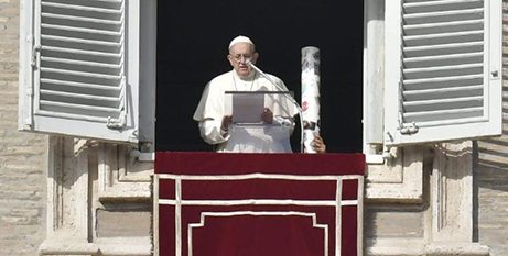 The Pope, with a large candle beside him, at yesterday's Sunday Angelus prayerThe Pope, with a large candle beside him, at yesterday's Sunday Angelus prayer (Vatican Media)