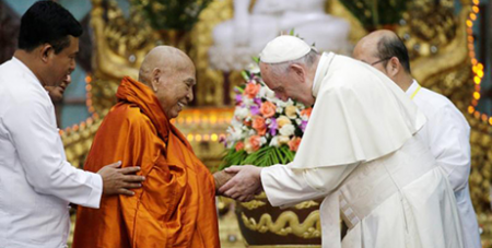 Pope Francis greets Bhaddanta Kumarabhivasma, chairman of the supreme council of Buddhist monks in Yangon, Myanmar (CNS/Max Rossi, Reuters)