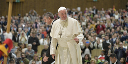 Pope Francis arrives in the Paul VI Hall for the General Audience yesterday (Vatican Media)