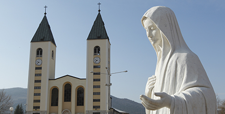 Statue of Mary outside St James Church, Medjugorje (CNS/Paul Haring)