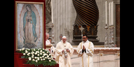 With an image of Our Lady of Guadalupe behind him, Pope Francis celebrates Mass at St Peter's Basilica on Wednesday (CNS/Max Rossi, Reuters)