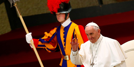Pope Francis at his weekly audience yesterday (CNS/Reuters)