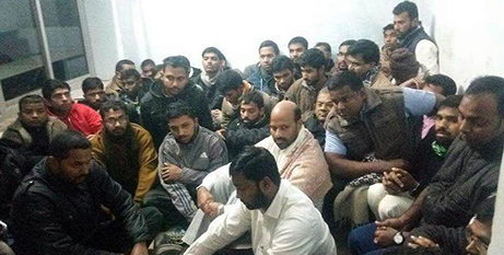 The detained men inside a police station in Madhaya Pradesh, India  (ucanews.com)