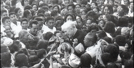 Fr Patrick Peyton at a Rosary Crusade rally in the Philippines in 1953 (Wikimedia)