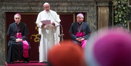 Pope Francis addresses the Roman Curia yesterday (CNS/Claudio Peri)