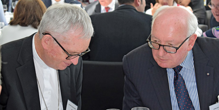 Auckland Bishop Patrick Dunn and John McCarthy at the Bishop's Lunch in Auckland (NZ Catholic)