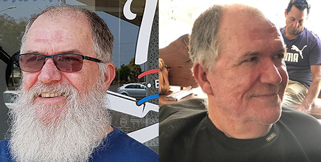 Michael Hutchinson before and after having his beard shaved to raise funds for his L'Arche community (The Catholic Leader)