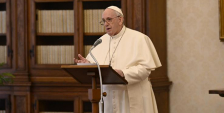 Pope Francis delivers his Angelus address in the library of the Apostolic Palace on Sunday (Vatican Media)