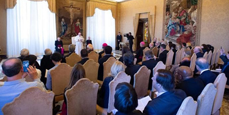 Pope Francis at the Vatican conference on promoting a global compact for improving education, February 7 (CNS/Vatican Media)