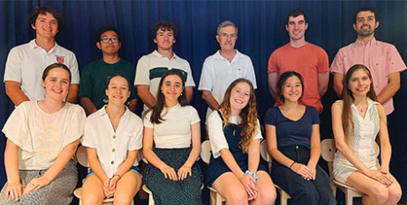 Newman Society president Georgina Devenish-Meares, front left, with the Newman Core Team at the University of Queensland (Newman Society)