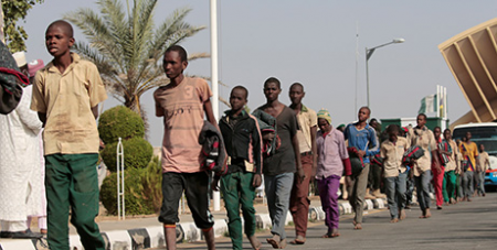 Nigerian schoolboys after their rescue by security forces in Katsina, Nigeria in 2020 (CNS/Afolabi Sotunde, Reuters)