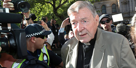 Cardinal George Pell arrives at the Melbourne County Court in February (CNS/Daniel Pockett, AAP images via Reuters)