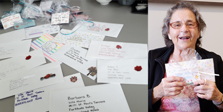 Villa Maria Fortitude Valley resident Gwen with letters sent to the home (Catholic Healthcare)