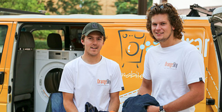 Orange Sky Laundry founders Nic Marchesi (left) and Lucas Patchett (The Catholic Leader/Emilie Ng)