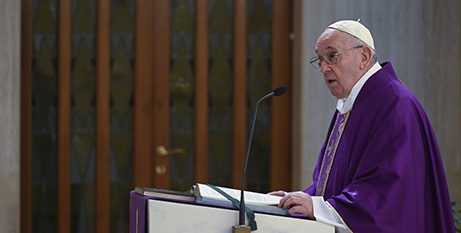 Pope Francis gives his homily during his livestreamed Mass yesterday (CNS/Vatican Media)