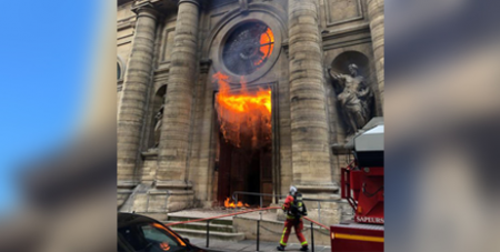 The fire at St Sulpice Church in Paris in March (CNS/Instagram agneswebste via Reuters)