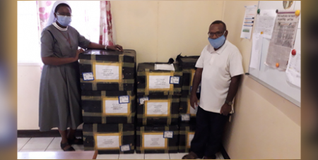 Diocese of Lae in Papua New Guinea receives personal protective equipment organised by Catholic Health Australia and Caritas Australia (Caritas Australia/PNG)