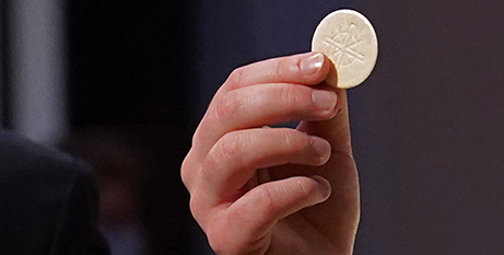 The fact that the Eucharist is Jesus' Body and Blood can still cause scandal, Pope Francis said (CNS/Gregory A. Shemitz)