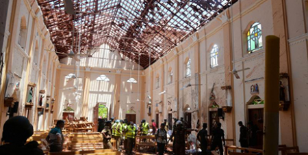 St Sebastian Church in Negombo, Sri Lanka, on Easter Sunday after the terrorist attack (CNS/Reuters)