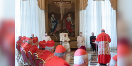 Cardinal Marcello Semeraro speaks during a consistory on Monday for the approval of new saints (CNS/Vatican Media)