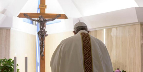 Pope Francis arrives for Mass in the chapel of the Domus Sanctae Marthae yesterday(CNS/Vatican Media)