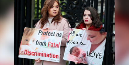 Pro-life supporters outside the High Court in Belfast in 2019 (CNS/Brian Lawless, Reuters)